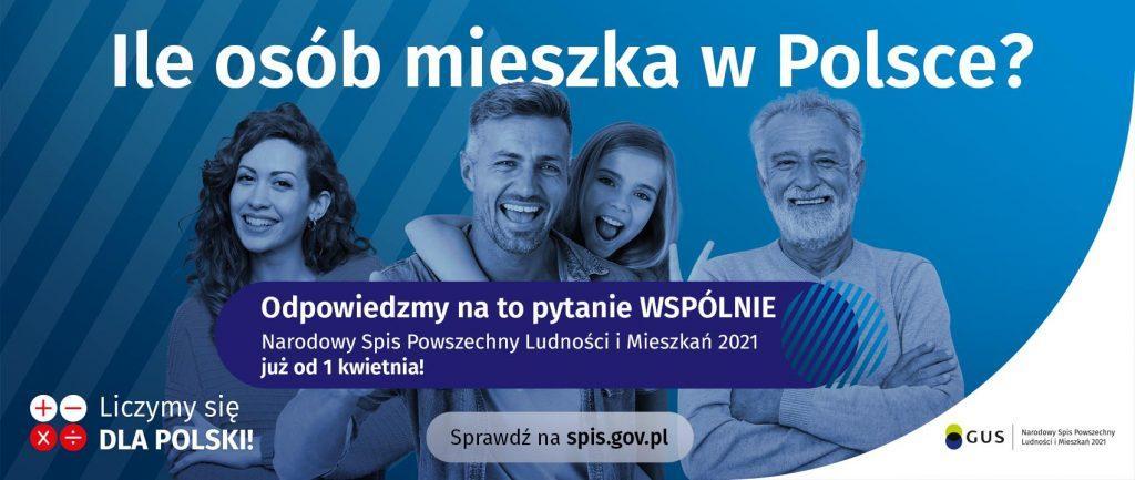 plakat. Ile osób mieszka w Polsce?